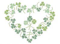 Сердце из листов конюшины А3-0434 схема вышивки бисером