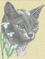 Серый кот А4-281 схема с рисунком на габардине для полной вышивки бисером
