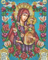 Схема с рисунком для полной вышивки бисером на габардине БКР-4262 Божия Матерь Неувядаемый Цвет