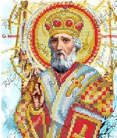 Святой Николай, БКР-4335 схема с рисунком для частичной вышивки бисером №10 на габардине
