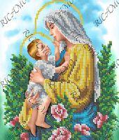 БКР 4345 Мадонна с младенцем схема с рисунком для частичной вышивки бисером №10 на габардине