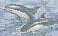 Схема для вышивки бисером на ткани Дельфины А4-0314