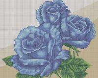 Синие розы схема для вышивки бисером на ткани А3-0150