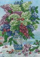Сирень и вишни в вазе схема для вышивания бисером А3-627