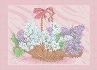 Сирень в корзине А3-0525 схема с рисунком на габардине для полной вышивки бисером