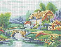 Сказочный домик в цветах А3-021 схема с рисунком на габардине для полной вышивки бисером