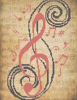 Скрипичный ключ А4-0447 схема для вышивки бисером