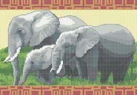 Слоны схема для вышивки бисером на ткани А3-0117