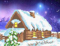 Снежная зима ночью для вышивки бисером на ткани СВ-4017