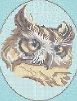 Сова схема для вышивки бисером на ткани А4-282