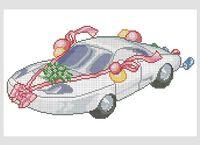 Свадебное авто схема для вышивки бисером на ткани А3-0346