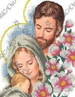 """""""Святое Семейство"""" схема с рисунком для вышивки бисером №10 на габардине А4-4249"""