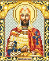 Святой Александр Невский АР 2031 схема с рисунком на атласе для полного вышивания бисером