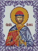 Святой Борис ЮМА-522 схема с рисунком на атласе для частичного вышивания бисером