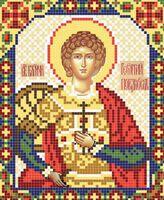 Святой Георгий Победоносец АР 2062 схема с рисунком на атласе для полного вышивания бисером