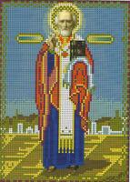 Святой Николай Мирликийский Чудотворец И-429 схема с рисунком для вышивания бисером на габардине