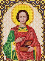 Святой Пантелеймон ЮМА-539 схема с рисунком на атласе для частичного вышивания бисером