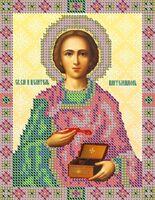 Святой Пантелеймон НВП-003 схема с рисунком на атласе для частичного вышивания бисером