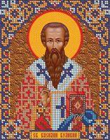 Святой Василий Великий ЮМА-534 схема с рисунком на атласе для частичного вышивания бисером