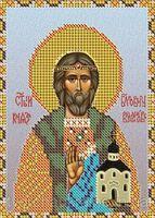 Святой Владислав НВП-053 схема с рисунком на атласе для частичного вышивания бисером