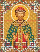 Святой князь Глеб ЮМА-533 схема с рисунком на атласе для частичного вышивания бисером