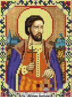 Святой мученик Анатолий ЮМА-544 схема с рисунком на атласе для частичного вышивания бисером