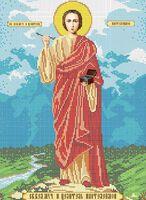 Святой Пантелеймон схема для вышивки бисером на ткани А3-086