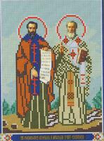 Святые Равноапостольные Кирилл и Мефодий И-168 схема с рисунком для вышивания бисером на габардине