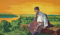 Тарас Шевченко, ЮМА-389 схема-рисунок полноцветная на атласе для частичного вышивания бисером