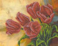 Тюльпаны, БКР-4240 схема с рисунком для частичной вышивки бисером на ткани