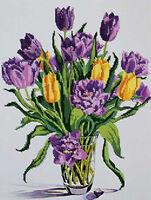 Тюльпаны, DANA-326 схема с рисунком для частичной вышивки бисером на габардине