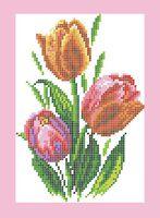 Тюльпаны схема для вышивки бисером на ткани А4-0182