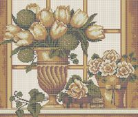Тюльпаны схема для вышивки бисером на ткани А3-017
