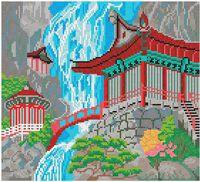 Водопад и пагода, схема-рисунок частичного вышивания бисером SA 3-56