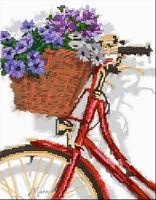 Велосипед и корзина с цветами, 1537 схема-рисунок на габардине для вышивки бисером №10
