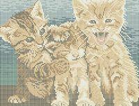 Веселые котята А4-0341 схема с рисунком на габардине для полной вышивки бисером