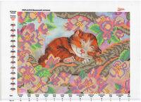 Весенний котёнок, РКП-4-018 схема-рисунок (полноцветная) на атласе для вышивания бисером(нитками)