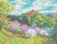 Весенний пейзаж схема для вышивки бисером на ткани А4-0231