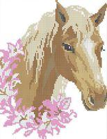 Влюблённая лошадь А4-0170 схема с рисунком на габардине для частичной вышивки бисером