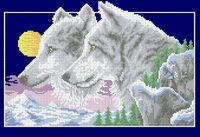 Волки, А3-0396 схема-рисунок на габардине для вышивки бисером №10, формат А-3