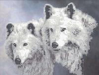 Волки А4-015 схема с рисунком на габардине для полной вышивки бисером