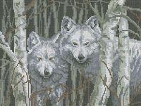Волки БА3-030 схема с рисунком на габардине для полной вышивки бисером