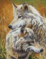 Волки, МИКаА-036 схема-картина для вышивания на габардине бисером №10