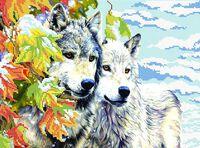 Волки зимой схема для вышивки бисером на ткани СВ-3021