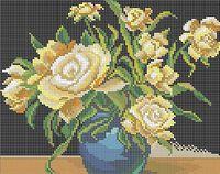 Желтые розы схема для вышивки бисером на ткани А4-0240