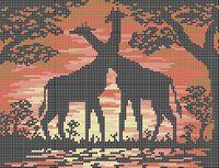 Жирафы А4-0319 cхема для вышивки бисером