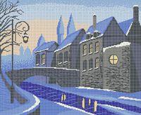 Зимний город схема для вышивки бисером на ткани А3-012
