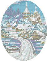 Зимний пейзаж схема для вышивки бисером на ткани А3-0482
