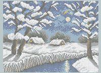 Зимняя ночь А3-0479 схема с рисунком на габардине для полной вышивки бисером