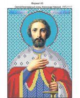 Святой благоверный князь Александр Невский,  И-117 схема с рисунком для вышивания бисером на габардине